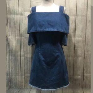 ☀️ Steve J & Yoni P Dress XS jeans mini cold shoul